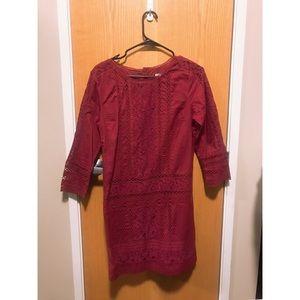 Abercrombie &Fitch Burgundy Lace Crochet Dress